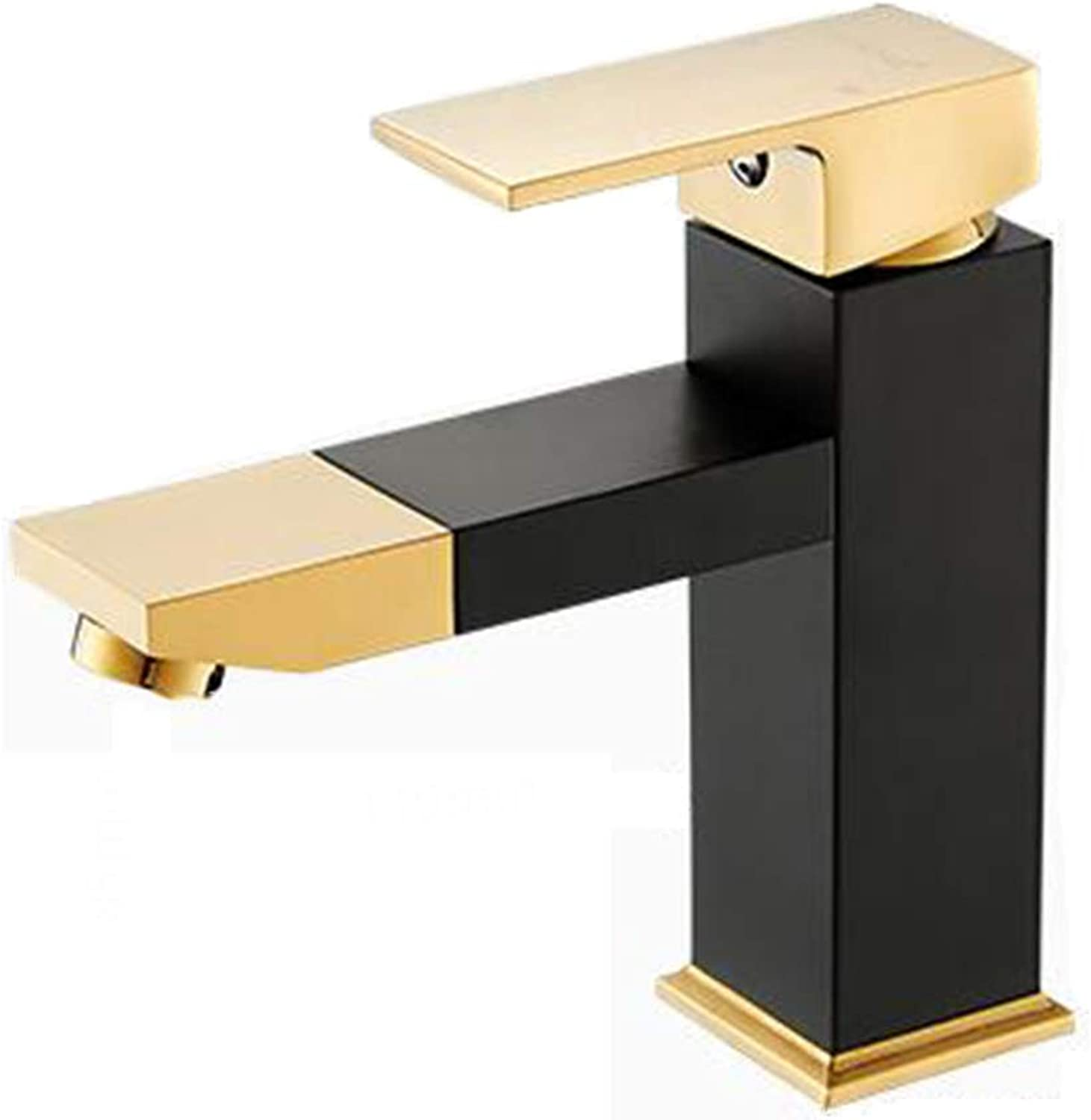 Bathroom Vanity Copper Taps Hot and Cold Nordic Style Black gold Bathroom Single Hole Bathroom Square Faucet