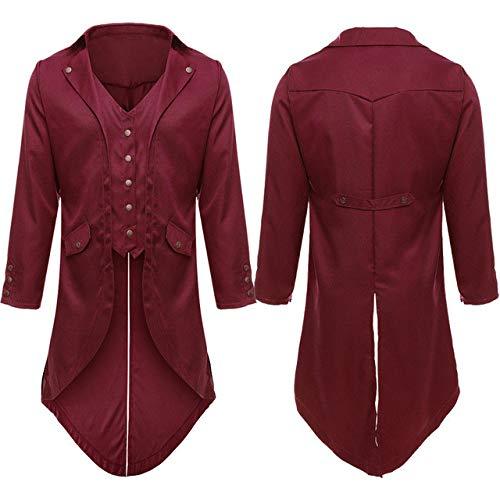 Loeay Vintage 's Veste de Mode Solide irrégulière Bouton Banquet scène Queue rétro Outwear Coupe-Vent Costumes Occasionnels Blazer Vestes Rouge M