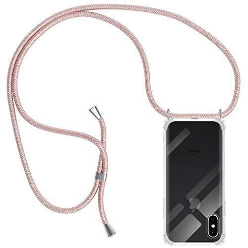 Funda con Cuerda para iPhone X/XS, Carcasa Transparente TPU Suave Silicona Case con Correa Colgante Ajustable Collar Correa de Cuello Cadena Cordón para iPhone X/XS - Oro Rosa