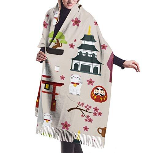 Bufanda de Invierno Para Mujer Chal Pashminas Edificios de arquitectura de cultura de Japón Grande Larga de 196 * 68CM Chal Invierno Cálida Grande Larga Suave Manta para Mujeres