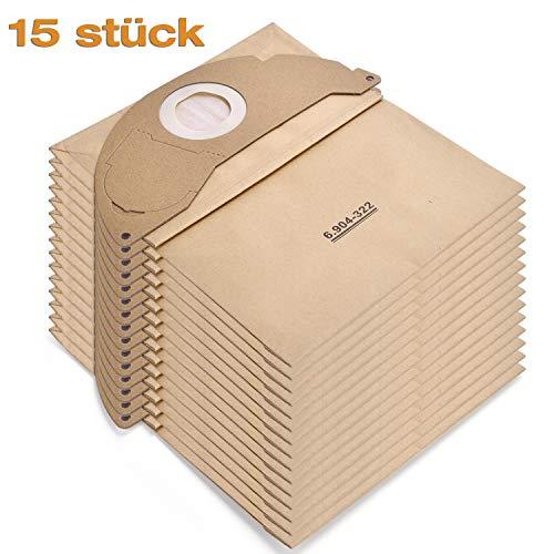 Rebirthcare 15 stück Filtertüten Papierfiltertüten 6.904-322.0 Staubsaugerbeutel für Kärcher WD2 Beutel