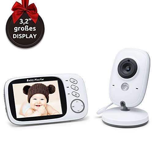 Babyphone mit Kamera ohne Strahlung – Video Baby Monitor mit Nachtsicht Gegensprechenfunktion Längere Reichweite und Temperaturüberwachung, Überwachung mit 3.2