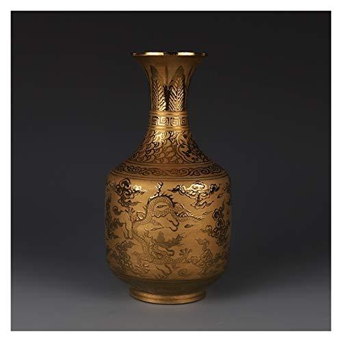 OUMIFA Jarrones Ming Dynasty Xuande Año Mark Gilded Gold Dragon Jarrón Antiguo Coleccionistas Ornamento Antiguo Porcelana Jarrones Decorativos geométricos