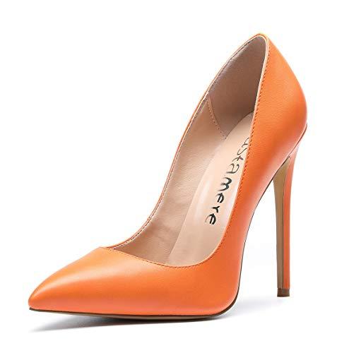 CASTAMERE Scarpe col Tacco Donna Stiletto Tacco Alto Nozze Festa High Heels Sexy Eleganti Scarpe 12CM Tacco PU Arancione Scarpe EU 38