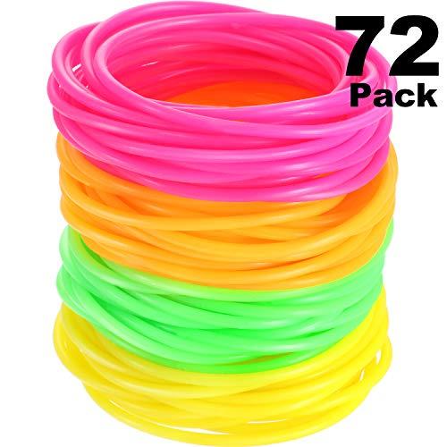 Hicarer 72 Stück 80 Jahre Armbänder, Silikon Jelly Armbänder, Helle Armreifen, Gummibänder für Party Sackfüller und Kostüm Zubehör (Eine Vielzahl von Leuchtenden Farben)