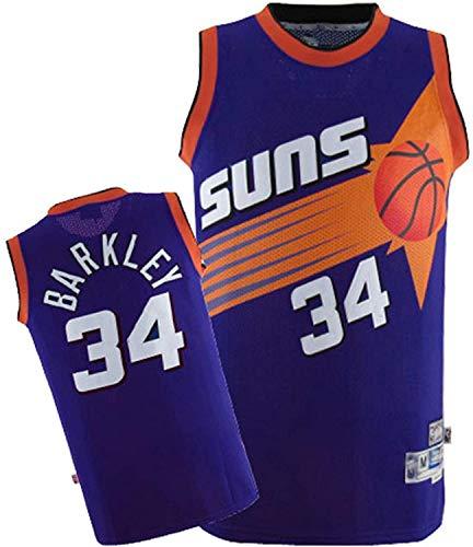 WSWZ Camiseta De Baloncesto NBA para Hombre - Camisetas De Charles Barkley NBA 34# Phoenix Suns - Unisex Cómodo Camiseta Sin Mangas Deportiva De Baloncesto,A,S(165~170CM/50~65KG)