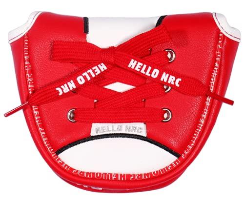 パターカバー ヘッドカバー オデッセイ 2ボールに対応 マグネットタイプ マレット用 ホルダー付き スコッティーキャメロン オデッセイに適合 ピンタイプ用 スニーカー 黒赤青 (マレット用赤)