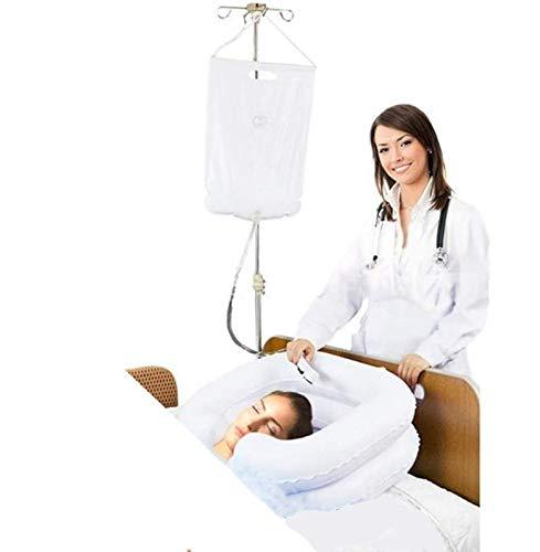 Kit de champú para mesilla de noche inflable, sistema de ducha para personas con movilidad reducida y ancianos, pacientepaciente confinado en la cama, ducha superior con bolsa de agua (juego de 4)
