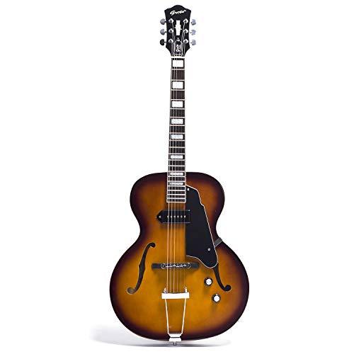 GROTE Jazz Electric Guitar Hollow Body Chrome Hardware P90 pickup (Vintage Sunburst)