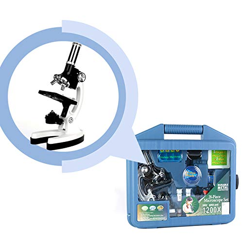 Labvida Kids Beginner 1200X Microscope STEM Kit with Metal Body Microscope, Plastic Prepared Slides and Other Laboratory Accessories, Packed in LDPE Carrying Box, LVV001