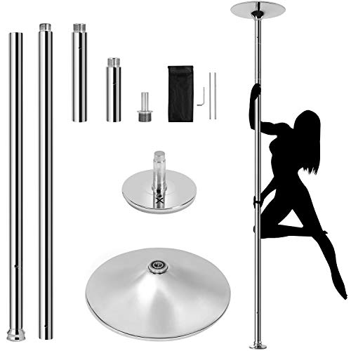 Yaheetech 45mm Stripper Dance Pole Spinning Static Dancing Pole Home Club Party Pub Portable Removable Home Dancing Pole for Beginner & Professional Stripper,Bottom Height Adjustment