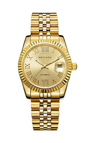 BRIGADA Swiss Watches Luxury Golden Watches for Men, Automatic Hollow Mechanical Men's Watch
