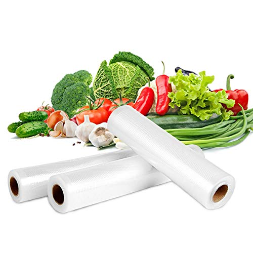 Vacuum Sealer Roll Bags, EIVOTOR 3 Mix Size 5.9''/7.9''/9.8' X 196.85' Embossed Commercial Grade Food Saver Bags, Storage Packaging, Sous Vide Cooking, BPA Free FDA Approval Transparent Varisized