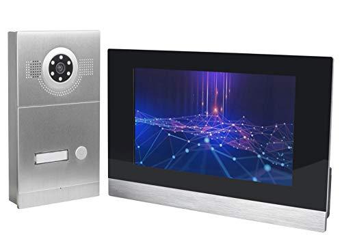 GVS IP Video Türsprechanlage, Aufputz-Türstation IP65, 1x 10' Monitor, Handy-App, HD-Kamera 115°, Türöffner-Funktion, 32GB Foto-/Video-Speicher, PoE-Switch, 1 Familienhaus Set, AVS2055A