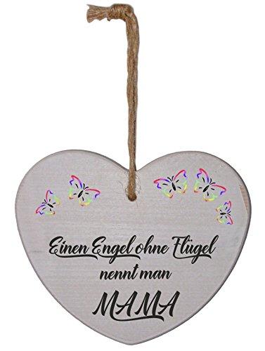 Trendagentur KEPPLINGER Holzherz impresos en lugar Gravur - de abeto blanco laqueado - dicho sobre el tema de la familia madre - un ángel sin alas llamado Man Mamá