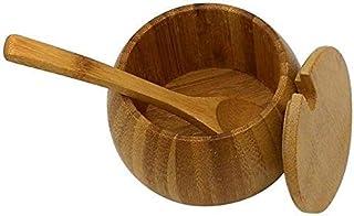 MANXUEUP Pot d'assaisonnement en Bambou sel Naturel Peut Maison Bouteille d'épices avec Couvercle Cuisine boîte de Rangeme...