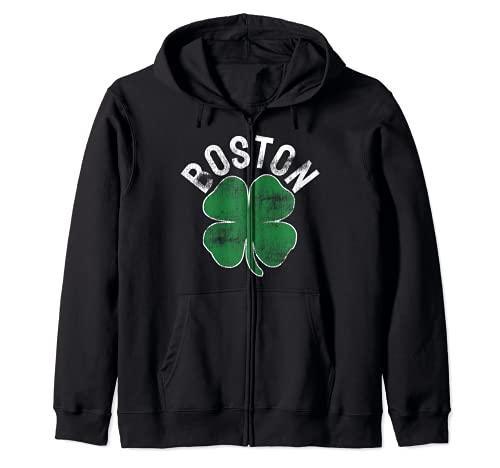 Da de San Patricio Shamrock Massachusetts Boston Irish Green Sudadera con Capucha