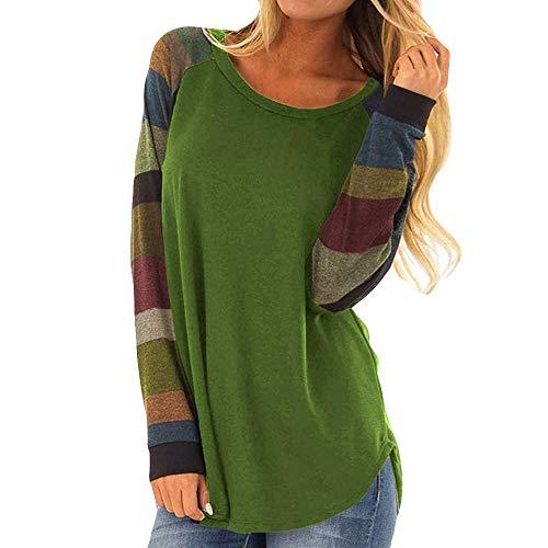 iHENGH Damen Mode Frauen Streifen Casual Top T-Shirt Damen Lose Langarm Top Bluse(S,Grün)