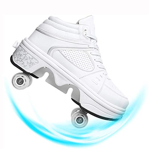 DADUDU Unisex Patines De Ruedas LED Deformación Multifunción Skate De Patìn Zapatos Patines De Carga USB Doble Fila Telescópico Rueda Calzado De Deportes De Exterior