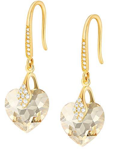 Crystals&Stones – Orecchini a forma di cuore in argento 925 placcato oro 24 K – Golden Shadow – Orecchini con cristalli Swarovski – Bellissimi orecchini da donna – Orecchini con scatola regalo
