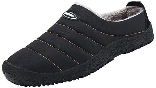 Saguaro Herren Damen Winter Hausschuhe Plüsch Warm Gefütterte Schneestiefel Slippers Outdoor Freizeit Schuhe, Schwarz 46
