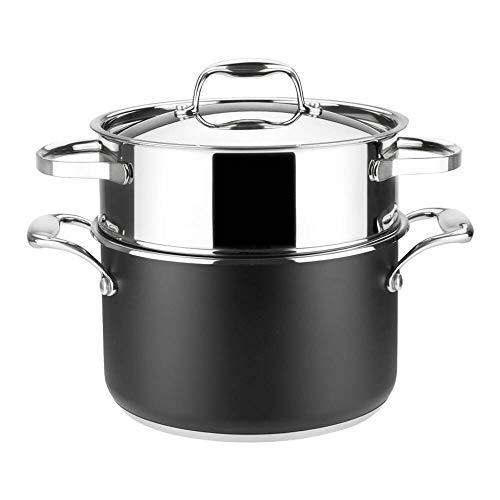 Cacerola Cocina al Vapor MAGEFESA Prisma. Cacerola Fabricada en Acero Inoxidable, Compatible con Todo Tipo Cocina, INDUCCIÓN. Fácil Limpieza. Apto para lavavajillas y Horno.(Cacerola AL Vapor, 20_cm)