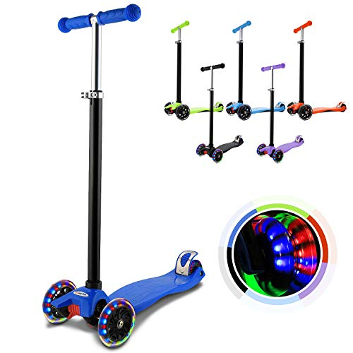 Hikole, monopattino a tre ruote, con manubrio regolabile e rimovibile, ruote LED lampeggianti, per bambini e bambine, Blu scuro