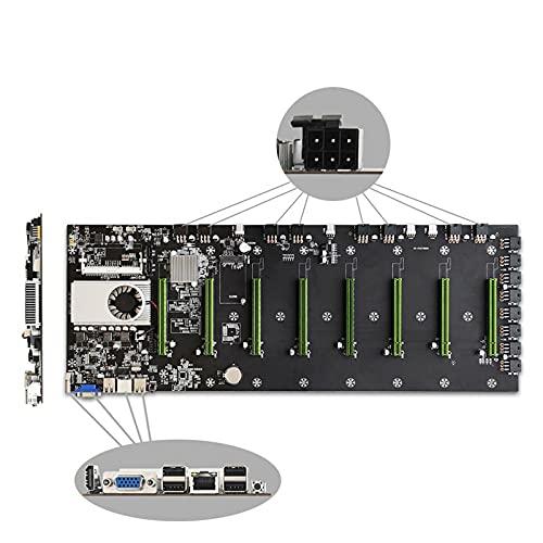 Soolike BTC-D37 Mining Machine Motherboard,Placa Base para Minería,Miner CPU Motherboard Set 8 Ranuras para Tarjetas Gráficas, VGA+HDMI+PCIEX16, Chip HM 77, Bajo Consumo