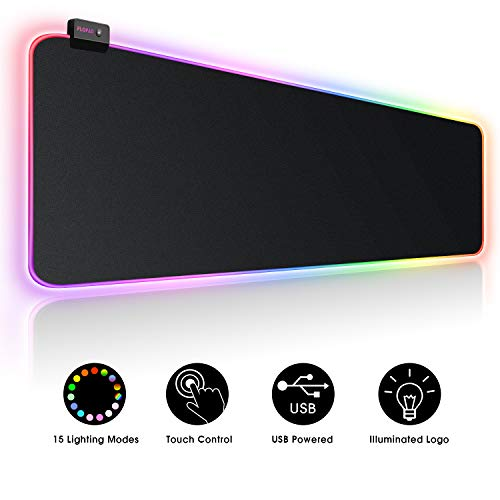 Large RGB Gaming Mouse Pad - 15 Light Modes Extended Computer Keyboard Mat with Durable Stitched Edges and Non-Slip Rubber Base, High-Performance Mouse Pad Optimized for Gamer 31.5X 11.8in