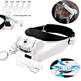 HunterBee Head Mount led Light Magnifying Glass for Jewelry loupe Sewing with Visor