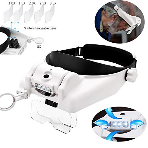 HunterBee LED Headlight Head-Mounted Magnifying Glass Glasses Sun Visor Hands-Free Magnifying Glass|for Close Work,Sewing,Craft Production,Reading&Painting,Maintenance,Jewelry Identification,Welding
