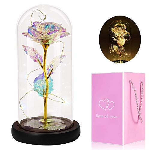 Gomyhom Galaxy Rosa, Eternal Bella y la Bestia Rosa, luz LED en Vidrio, Regalos Originales para Día de San Valentín,el Día de Madre, Mujer,Novia, Esposa,Aniversario,Cumpleaños Regalo