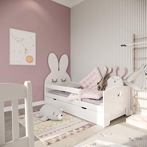 (70x160, Weiß) NeedSleep Hase Rausfallschutz Kinderbett Komplett - Bett mit Lattenrost Schublade Matratze 70x140 70x160 | Kinder ab 2 jahren | Mädchen Junge | Montessori Kinderzimmer Funktionsbett
