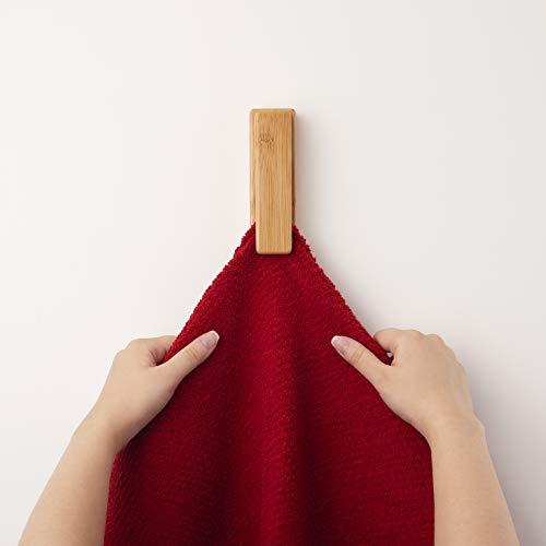 Perfectogar Handtuchhalter ohne Bohren - Handtuchhaken selbstklebend aus Bambusholz - Elegantes Aufhängen von Handtüchern in Bad & Küche