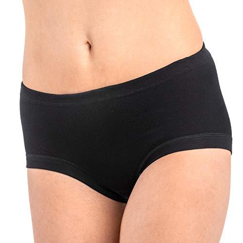 HERMKO 9114001 3er Pack Damen Taillenslip aus Bio-Baumwolle, Farbe:schwarz, Größe:48/50 (XL)