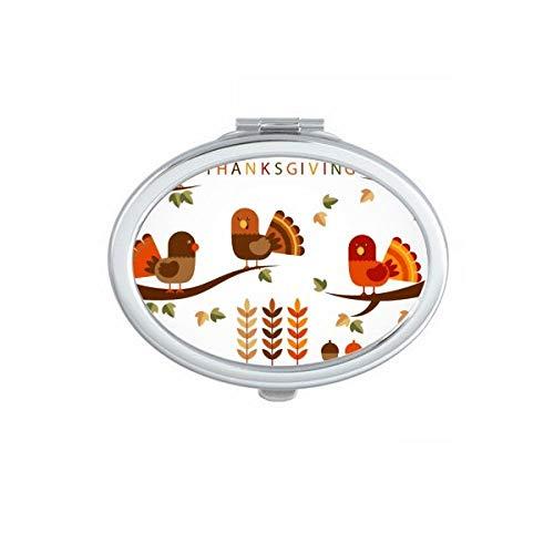 DIYthinker Pumkin Thanksgiving Day Turquie Motif Ovale Maquillage Compact Miroir de Poche Portable Miroirs Mignon Petit Cadeau à la Main Multicolor