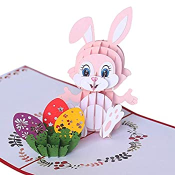 CUTEPOPUP Happy Easter s Day Popup Bunny Card with Funny Face Bunny Vibrant Colors Meticulous Details by Laser Cut for Grand-kids Children Your Family or Your Loved Ones on Any Occasion