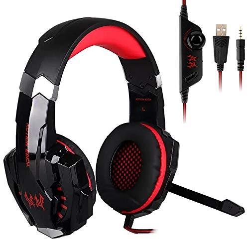 Fbewan Auriculares Gaming PS5, Cascos Gaming Premium Estéreo con Micrófono, Orejeras de Memoria Suave, Gaming Headset con Control de Volumen para PC/Playstation 5/Switch/Móvil/Mac,Rojo