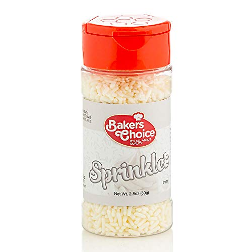 Baker's Choice – White Sprinkles Colored Jimmies – Dairy Free, Kosher – 2.8 ounce