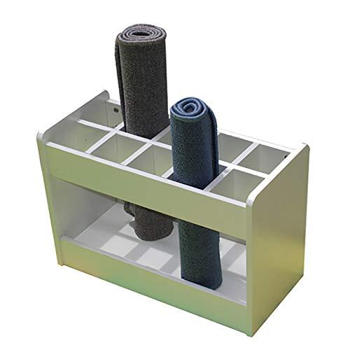 ERLAN Rectángulo Soporte para Esterilla de Yoga con 10 Compartimentos, de Madera Caja de Almacenamiento de Colchonetas de Ejercicio para Jardín de Infantes/Estudio (Color : White)