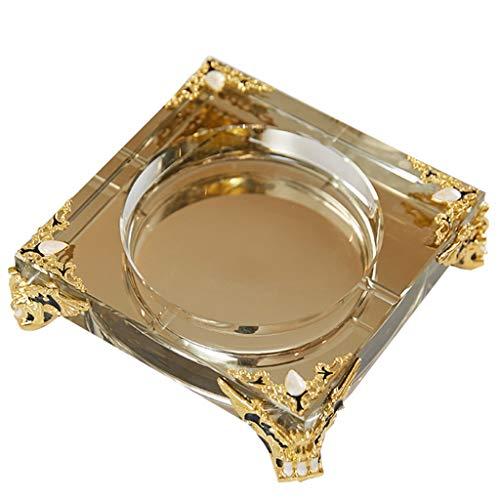 DXIN Cenicero para Patio, Cenicero Cuadrado De Vidrio, para Fumadores Cenicero De Escritorio para Fumar, para Decoración De Oficina En Casa (Color : Gold, Size : 22 * 22 * 6cm)