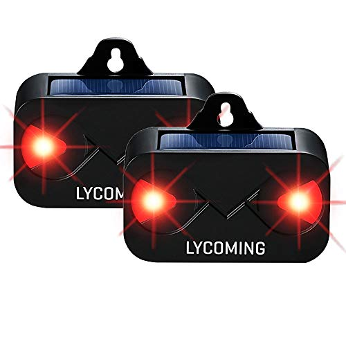 Lycoming Solar Predator Light Devices for Nighttime Animals Solar Predator Control Light Coyote Deterrent Deer Repeller with Bright LED Strobe Lights Skunk Raccoon Repellent - 2 Pack