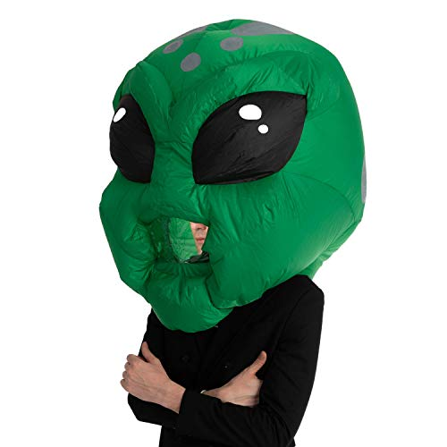 Spooktacular Creations Adult Unisex Alien Bobblehead Inflatable Costume Air Head Mask Halloween Costume - One Size (Alien) Green
