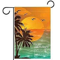 ウェルカムガーデンフラッグ(28x40in)両面垂直ヤード屋外装飾,夏のビーチの夕日