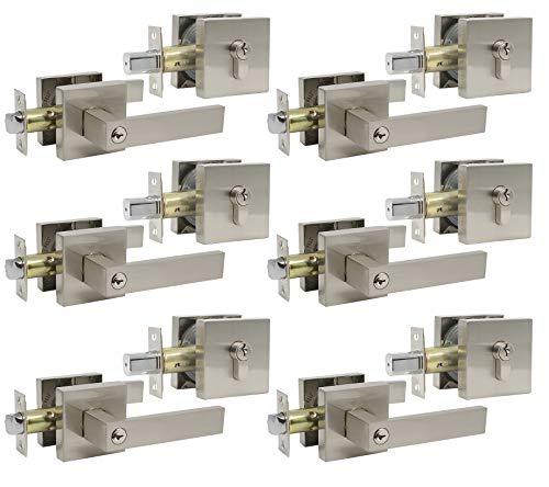 Probrico Satin Nickel Entry Levers Lock Sets and Double Cylinder Deadbolts Keyed Alike Combination Set, Heavy Duty Square Entry Door Locksets Front Door Bedroom Entrance Locks, 6 Pack(All Same Keys)