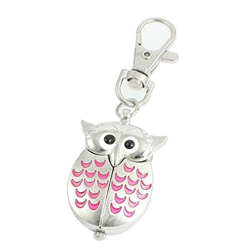 SODIAL(R) - Portachiavi con orologio a ciondolo in metallo argentato e rosa nascosto da un gufo, con rotella per la regolazione dell'orario