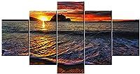 タンゴルンダ湾、Huatulco、メキシコキャンバスウォールアート5ピース海の波の風景寝室の壁の装飾キャンバスプリントポスター絵画壁壁画アートワーク