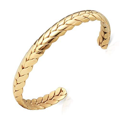 Lolalet Bracelet Jonc Ouvert, Plaqué Or Jaune 18 Carats, Mailles Anglaises Bijou Femme Homme Or Jaune