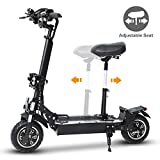 KUDOUT Electric Scooters, Adult 2400W 48V 24AH Motor Max Speed 75km/h Double Drive 10.5 inch Off-road CST Tire Folding Commuting Scooter with Seat and Multicolor LED Side-bar