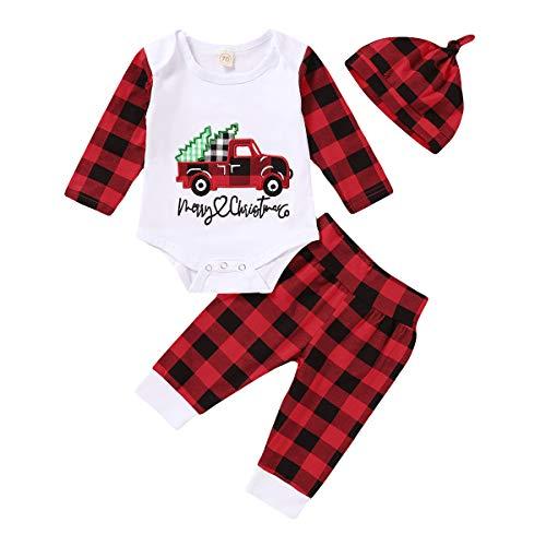 Bebé Conjunto de Navidad para Recién Nacido Traje Navideño con Top Mameluco de Manga Larga + Pantalones Largos para Niños Niñas Pequeños Ropa Pijama de Hogar (Cuadros, 12-18 Meses)